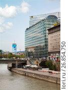 Купить «Vienna, Austria - AUG 22, 2017: Office of IBM international company on esplanade of Danube», фото № 26854750, снято 22 августа 2017 г. (c) Юлия Кузнецова / Фотобанк Лори