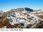 Купить «Mountain range in winter, Chamonix», фото № 26854802, снято 31 декабря 2016 г. (c) Юлия Кузнецова / Фотобанк Лори