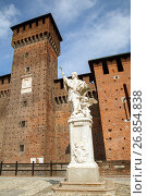 Купить «Sculpture of St. John of Nepomuk in Sforzesco castle, Milan, Italia», фото № 26854838, снято 19 июля 2017 г. (c) Юлия Кузнецова / Фотобанк Лори