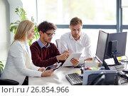Купить «business team with tablet pc at office», фото № 26854966, снято 1 октября 2016 г. (c) Syda Productions / Фотобанк Лори