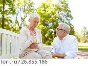 Купить «senior woman feeling sick at summer park», фото № 26855186, снято 16 июля 2017 г. (c) Syda Productions / Фотобанк Лори
