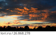 Купить «Beautiful red clouds at sunset», видеоролик № 26868278, снято 3 июля 2017 г. (c) Володина Ольга / Фотобанк Лори