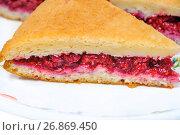 Купить «Пирог со свежей малиной», фото № 26869450, снято 23 июля 2017 г. (c) Алёшина Оксана / Фотобанк Лори