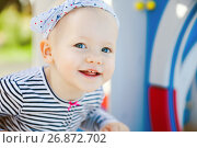 Купить «One year-old child on playground.», фото № 26872702, снято 5 августа 2020 г. (c) Дарья Филимонова / Фотобанк Лори
