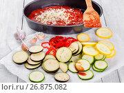 Купить «Raw ingredients for traditional French casserole, close-up», фото № 26875082, снято 18 февраля 2019 г. (c) Oksana Zh / Фотобанк Лори
