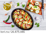 Raw ingredients for traditional French casserole, ratatouille to. Стоковое фото, фотограф Oksana Zh / Фотобанк Лори