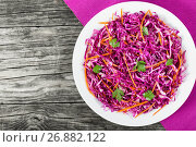 Купить «Salad coleslaw - red cabbage with carrots on white dish», фото № 26882122, снято 9 августа 2016 г. (c) Oksana Zh / Фотобанк Лори