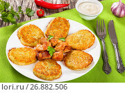 Купить «Hash Browns with fried meat and onion», фото № 26882506, снято 18 апреля 2019 г. (c) Oksana Zh / Фотобанк Лори