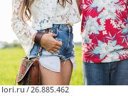 Купить «close up of young hippie couple outdoors», фото № 26885462, снято 27 августа 2015 г. (c) Syda Productions / Фотобанк Лори