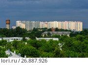 Московская область, город Фрязино, вид сверху на городскую застройку. Стоковое фото, фотограф glokaya_kuzdra / Фотобанк Лори