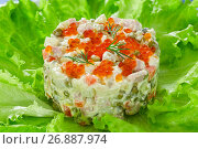 Купить «olivier- potato salad with chopped pickles, sausages and vegetables», фото № 26887974, снято 23 сентября 2018 г. (c) Oksana Zh / Фотобанк Лори