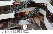 Купить «Интерьер ТК Галерея. Эскалаторы на разные уровни в главном холле. Санкт-Петербург», видеоролик № 26888022, снято 5 сентября 2017 г. (c) Кекяляйнен Андрей / Фотобанк Лори
