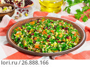 Купить «salad with pomegranate, pistachio nuts, parsley, peppermint, onion, tomato», фото № 26888166, снято 18 января 2019 г. (c) Oksana Zh / Фотобанк Лори
