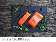 Купить «salmon fillet with fresh rosemary and drops of olive oil», фото № 26888286, снято 9 февраля 2017 г. (c) Oksana Zh / Фотобанк Лори