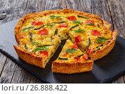 Купить «delicious french homemade quiche with Salmon», фото № 26888422, снято 17 сентября 2019 г. (c) Oksana Zh / Фотобанк Лори