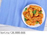 Купить «delicious golden batter fried perches on plate», фото № 26888666, снято 25 марта 2019 г. (c) Oksana Zh / Фотобанк Лори