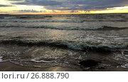 Купить «Темные морские волны набегают на песчаный пляж на закате, Финский залив. Замедленная съемка», видеоролик № 26888790, снято 6 сентября 2017 г. (c) Кекяляйнен Андрей / Фотобанк Лори