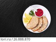 Купить «Gefilte minced carp fillets with horseradish sauce», фото № 26888870, снято 27 апреля 2017 г. (c) Oksana Zh / Фотобанк Лори