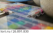 Купить «Colorful plastic granules on extruder for making plastics on extrusion manufactory», видеоролик № 26891830, снято 23 мая 2018 г. (c) Константин Шишкин / Фотобанк Лори