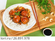 Купить «basmati rice with turkey meatballs, close-up», фото № 26891978, снято 20 июня 2019 г. (c) Oksana Zh / Фотобанк Лори