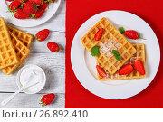 Купить «Belgian waffles with strawberries», фото № 26892410, снято 13 июня 2017 г. (c) Oksana Zh / Фотобанк Лори