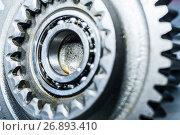 Купить «Steel gears and rolling bearing.», фото № 26893410, снято 23 августа 2017 г. (c) Андрей Радченко / Фотобанк Лори