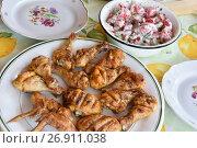 Купить «Шашлык из курицы на тарелке», эксклюзивное фото № 26911038, снято 19 августа 2017 г. (c) Юрий Морозов / Фотобанк Лори