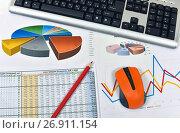 Купить «Клавиатура, компьютерная мышь, графики, диаграммы и таблицы. Бизнес-натюрморт», эксклюзивное фото № 26911154, снято 19 июня 2017 г. (c) Юрий Морозов / Фотобанк Лори