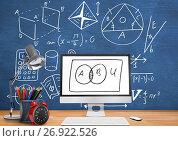 Купить «Computer Desk foreground with blackboard graphics of math diagrams», фото № 26922526, снято 25 июня 2019 г. (c) Wavebreak Media / Фотобанк Лори