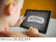 Купить «Girl holding a tablet with school icons on screen», фото № 26922814, снято 28 января 2020 г. (c) Wavebreak Media / Фотобанк Лори