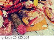 Купить «Variety of meats on table», фото № 26925054, снято 18 октября 2018 г. (c) Яков Филимонов / Фотобанк Лори