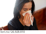 Купить «crying woman blowing nose with wipe at funeral day», фото № 26928810, снято 20 марта 2017 г. (c) Syda Productions / Фотобанк Лори