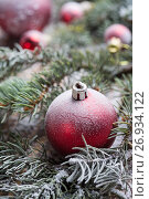 Купить «Christmas background on wooden», фото № 26934122, снято 13 сентября 2017 г. (c) Типляшина Евгения / Фотобанк Лори