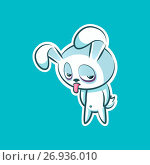 Sticker emoji emoticon emotion show tongue with sour face vector isolated illustration character unhappy sweet, cute white rabbit, bunny, hare, coney, cony, lapin for happy Easter. Стоковая иллюстрация, иллюстратор Maryna Bolsunova / Фотобанк Лори