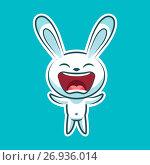 Sticker emoji emoticon, emotion joy, shouting vector isolated illustration happy character sweet, cute white rabbit, bunny, hare, coney, cony, lapin for happy Easter. Стоковая иллюстрация, иллюстратор Maryna Bolsunova / Фотобанк Лори