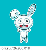 Sticker emoji emoticon emotion horrified screaming, clenched fists vector isolated illustration character sweet, cute white rabbit, bunny, hare, coney, cony, lapin for happy Easter. Стоковая иллюстрация, иллюстратор Maryna Bolsunova / Фотобанк Лори