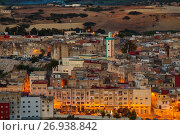 Купить «Sunset, panoramic view Medina of Fez, Fes el Bali. Morocco, Maghreb North Africa.», фото № 26938842, снято 1 мая 2017 г. (c) age Fotostock / Фотобанк Лори