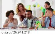 Купить «team greeting colleague at office birthday party», видеоролик № 26941218, снято 6 сентября 2017 г. (c) Syda Productions / Фотобанк Лори