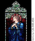 Купить «Church of Saint Mary Magdalene stained glass window, Thornham Magna, Suffolk, England, UK design by Edward Burne-Jones, Morris and Co.», фото № 26949450, снято 9 августа 2017 г. (c) age Fotostock / Фотобанк Лори