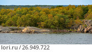 Купить «Picturesque landscape with green island in Baltic Sea, Aland Islands, Finland», фото № 26949722, снято 2 сентября 2017 г. (c) Валерия Попова / Фотобанк Лори