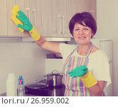Купить «senior woman cleaning», фото № 26959002, снято 21 марта 2019 г. (c) Яков Филимонов / Фотобанк Лори