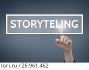 Купить «Hand interacting with storytelling business text against blue background», фото № 26961462, снято 20 ноября 2018 г. (c) Wavebreak Media / Фотобанк Лори
