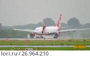 Купить «Airplane landing at rainy weather», видеоролик № 26964210, снято 24 июля 2017 г. (c) Игорь Жоров / Фотобанк Лори