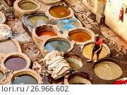 Купить «The old tanneries in the Medina of Fez, UNESCO World Heritage Site, Morocco, North Africa, Africa», фото № 26966602, снято 30 апреля 2017 г. (c) age Fotostock / Фотобанк Лори