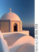 Купить «Colourful Catholic Church of St. Stylianos, Fira, Santorini, Cyclades Islands, Greek Islands, Greece, Europe», фото № 26966958, снято 12 августа 2014 г. (c) age Fotostock / Фотобанк Лори