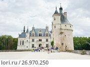 Замок Шенонсо (Château de Chenonceaux) осенью. Департамент Эндр и Луара. Франция (2017 год). Редакционное фото, фотограф E. O. / Фотобанк Лори