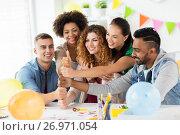 Купить «happy team at office party showing thumbs up», фото № 26971054, снято 3 сентября 2017 г. (c) Syda Productions / Фотобанк Лори