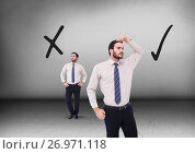 Купить «Correct Right or wrong drawings with Businessman looking in opposite directions», фото № 26971118, снято 23 августа 2019 г. (c) Wavebreak Media / Фотобанк Лори