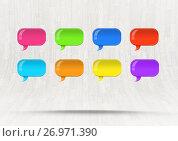 Купить «Group of Shiny chat bubbles floating in room», иллюстрация № 26971390 (c) Wavebreak Media / Фотобанк Лори