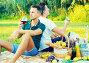 Two adult pacified brothers enjoying picnic, фото № 26972394, снято 23 августа 2017 г. (c) Яков Филимонов / Фотобанк Лори